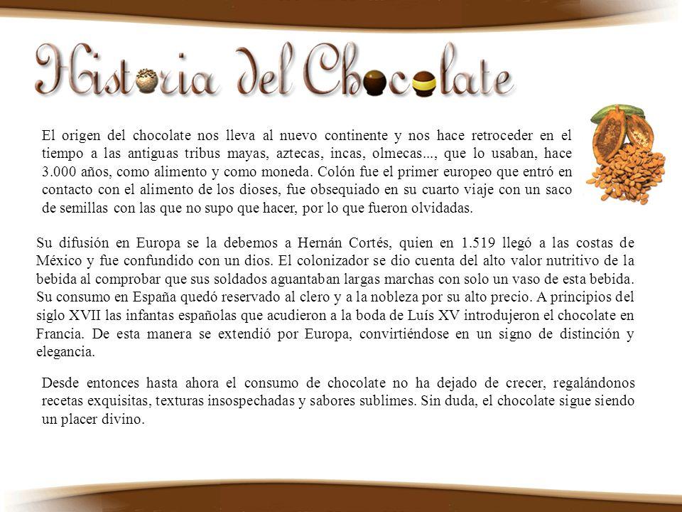 El origen del chocolate nos lleva al nuevo continente y nos hace retroceder en el tiempo a las antiguas tribus mayas, aztecas, incas, olmecas..., que