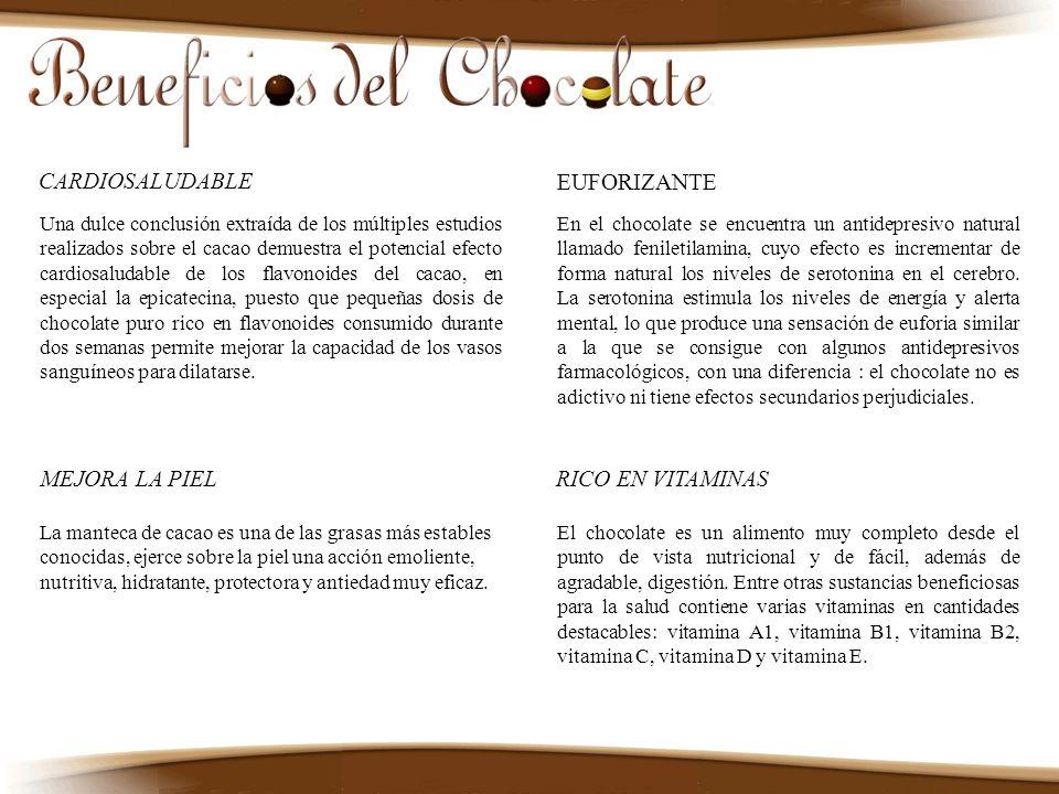 El chocolate es un alimento muy completo desde el punto de vista nutricional y de fácil, además de agradable, digestión. Entre otras sustancias benefi