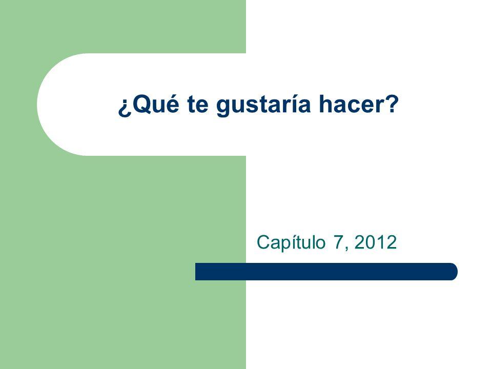 ¿Qué te gustaría hacer? Capítulo 7, 2012