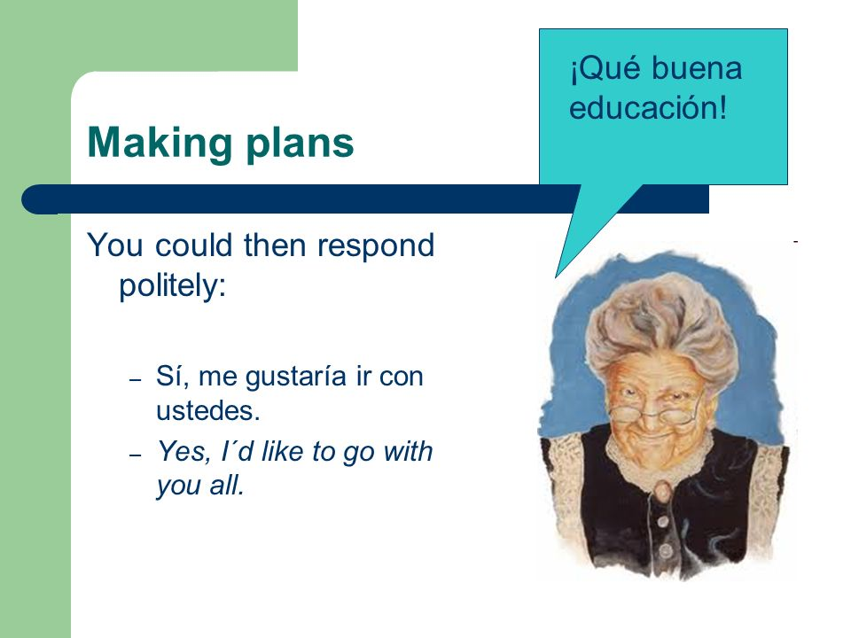 Making plans Did you notice that the second verb doesn´t change.