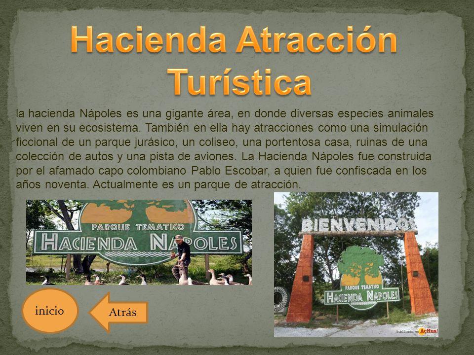 la hacienda Nápoles es una gigante área, en donde diversas especies animales viven en su ecosistema. También en ella hay atracciones como una simulaci