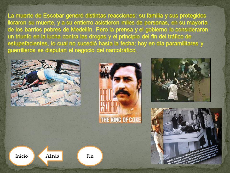 La muerte de Escobar generó distintas reacciones: su familia y sus protegidos lloraron su muerte, y a su entierro asistieron miles de personas, en su