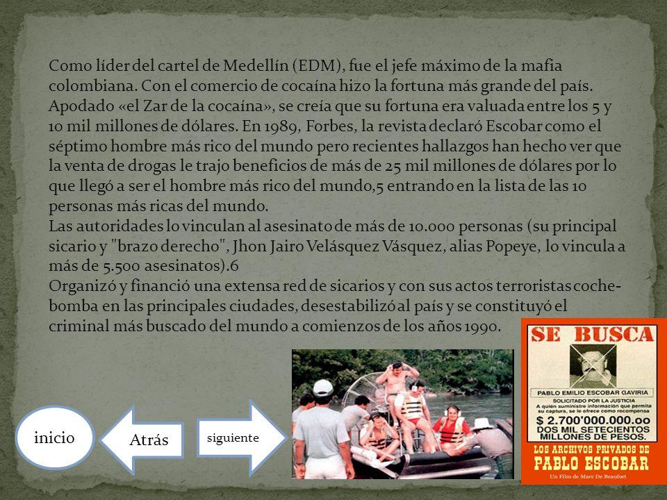 Como líder del cartel de Medellín (EDM), fue el jefe máximo de la mafia colombiana. Con el comercio de cocaína hizo la fortuna más grande del país. Ap