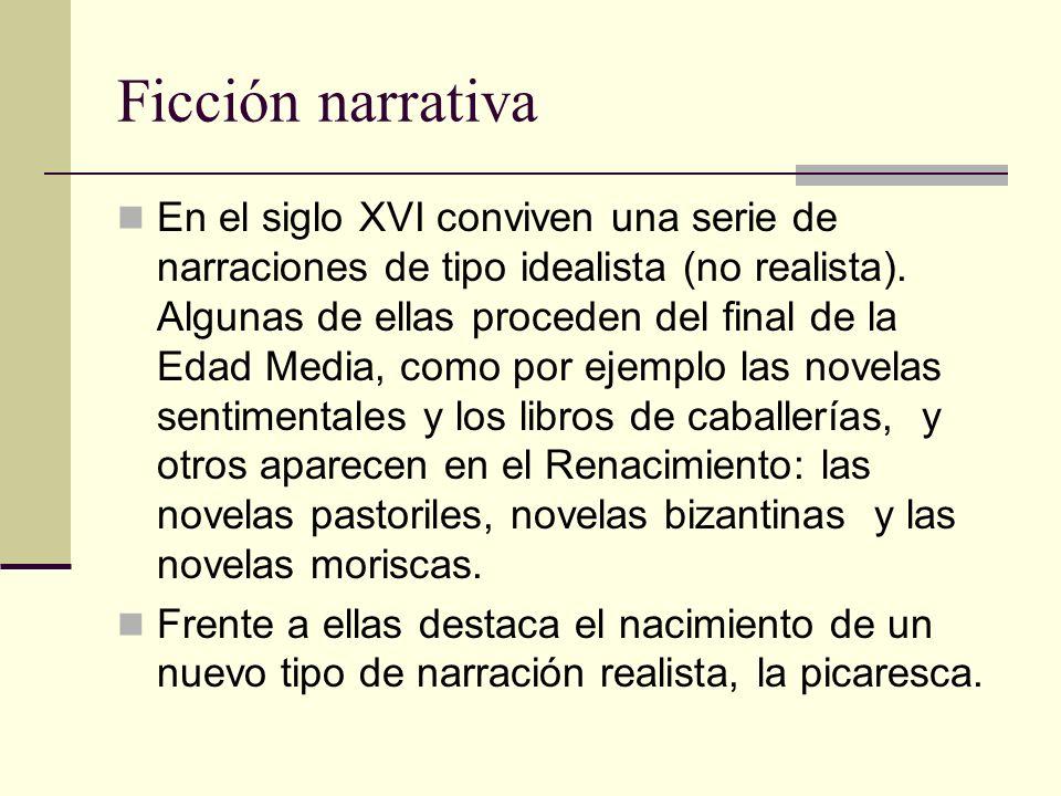 Ficción narrativa En el siglo XVI conviven una serie de narraciones de tipo idealista (no realista). Algunas de ellas proceden del final de la Edad Me