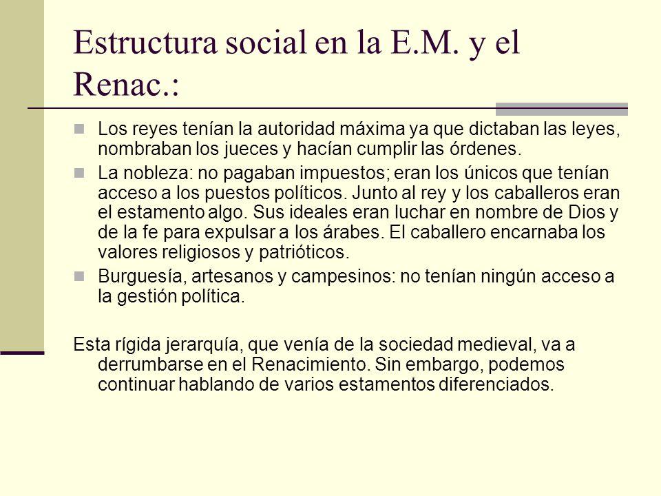 Estructura social en la E.M. y el Renac.: Los reyes tenían la autoridad máxima ya que dictaban las leyes, nombraban los jueces y hacían cumplir las ór