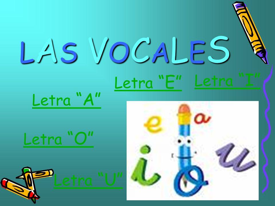 LAS VOCALESLAS VOCALESLAS VOCALESLAS VOCALES Letra A Letra I Letra O Letra U Letra E