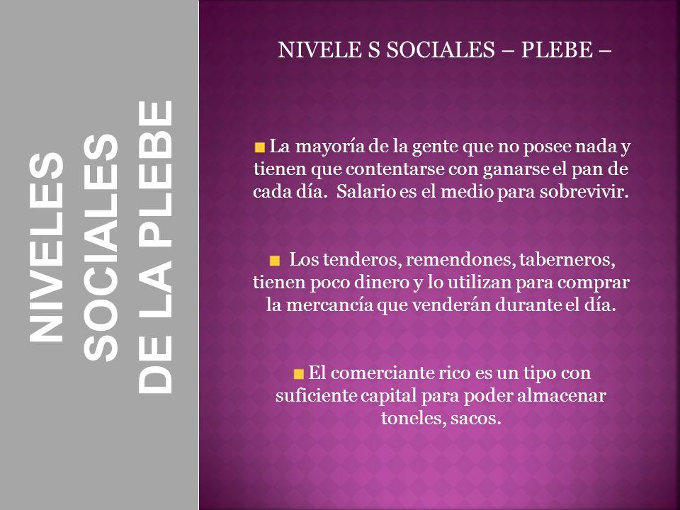 NIVELES SOCIALES DE LA PLEBE NIVELE S SOCIALES – PLEBE – La mayoría de la gente que no posee nada y tienen que contentarse con ganarse el pan de cada
