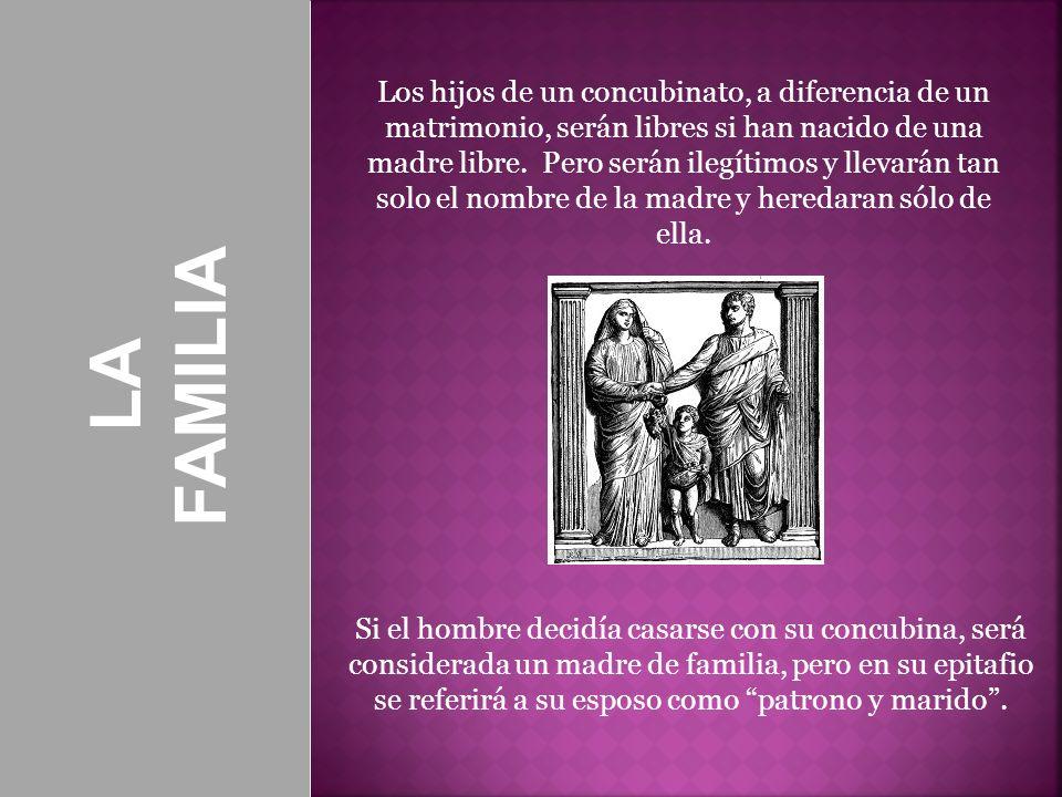 LA FAMILIA Los hijos de un concubinato, a diferencia de un matrimonio, serán libres si han nacido de una madre libre. Pero serán ilegítimos y llevarán
