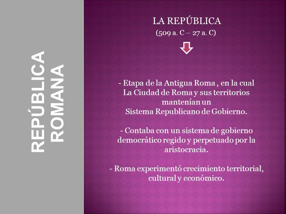 REPÚBLICA ROMANA SENADO Uno de los pilares de la República Órgano político que exigía responsabilidades a los cónsules- Originalmente el Senado estaba constituido sólo por Patricios, pero a partir del año 312 a.C.