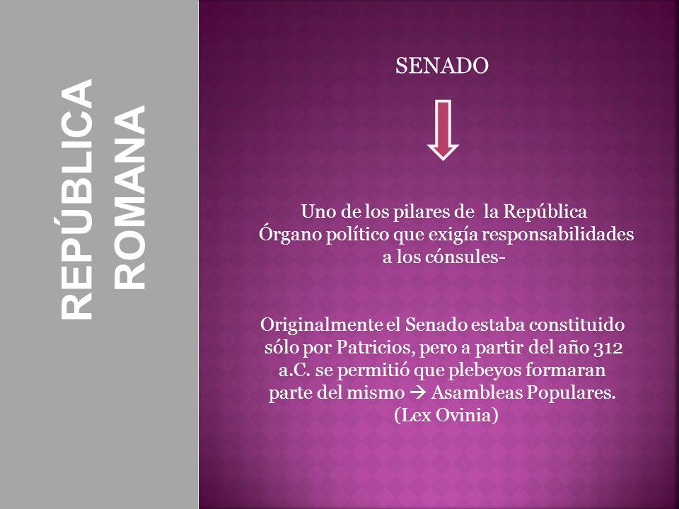 REPÚBLICA ROMANA SENADO Uno de los pilares de la República Órgano político que exigía responsabilidades a los cónsules- Originalmente el Senado estaba
