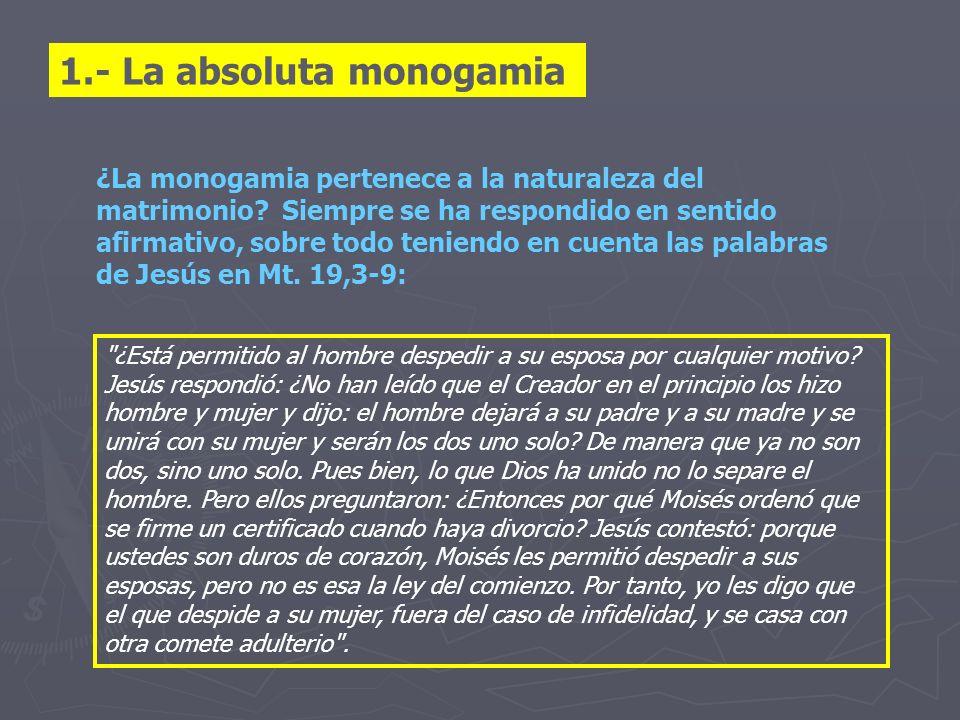 1.- La absoluta monogamia ¿La monogamia pertenece a la naturaleza del matrimonio? Siempre se ha respondido en sentido afirmativo, sobre todo teniendo