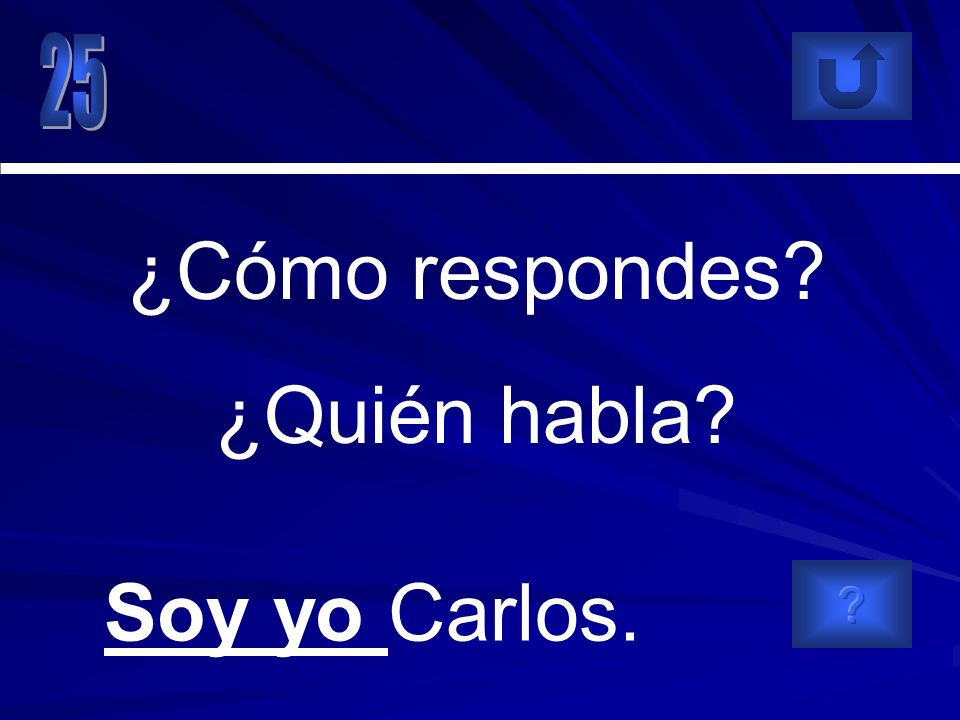 Soy yo Carlos. ¿Cómo respondes? ¿Quién habla?