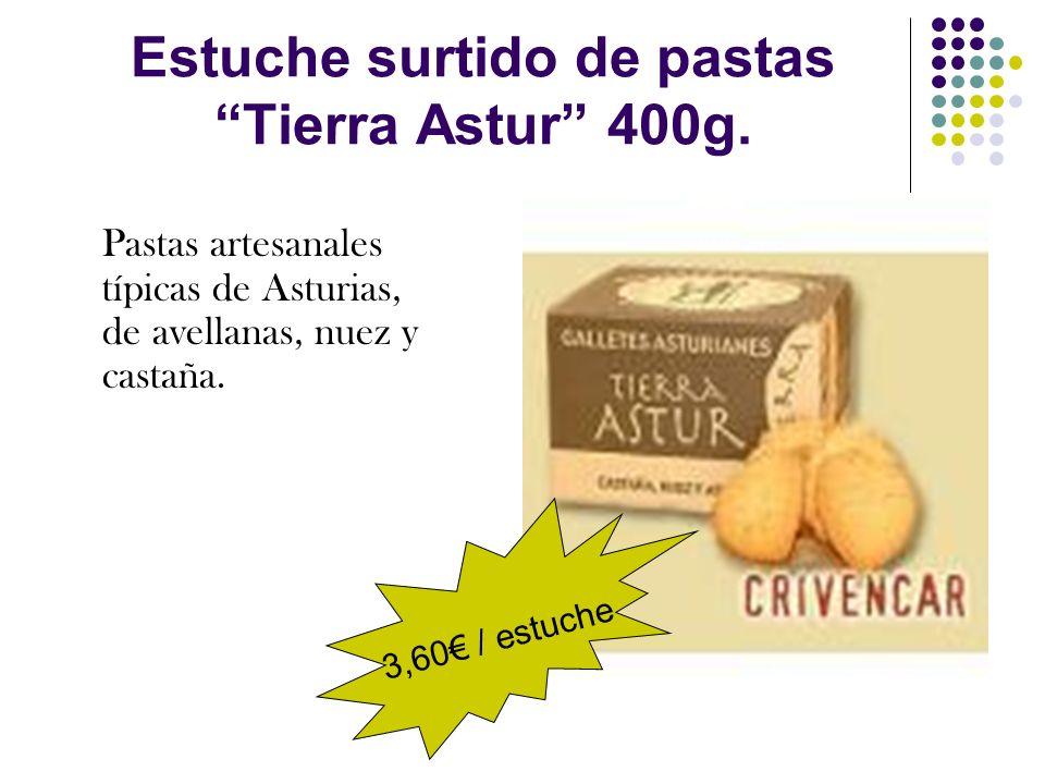 Estuche surtido de pastas Tierra Astur 400g. Pastas artesanales típicas de Asturias, de avellanas, nuez y castaña. 3,60 / estuche