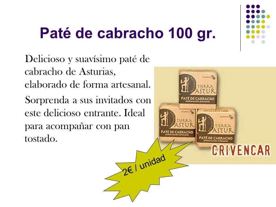Paté de cabracho 100 gr. Delicioso y suavísimo paté de cabracho de Asturias, elaborado de forma artesanal. Sorprenda a sus invitados con este delicios