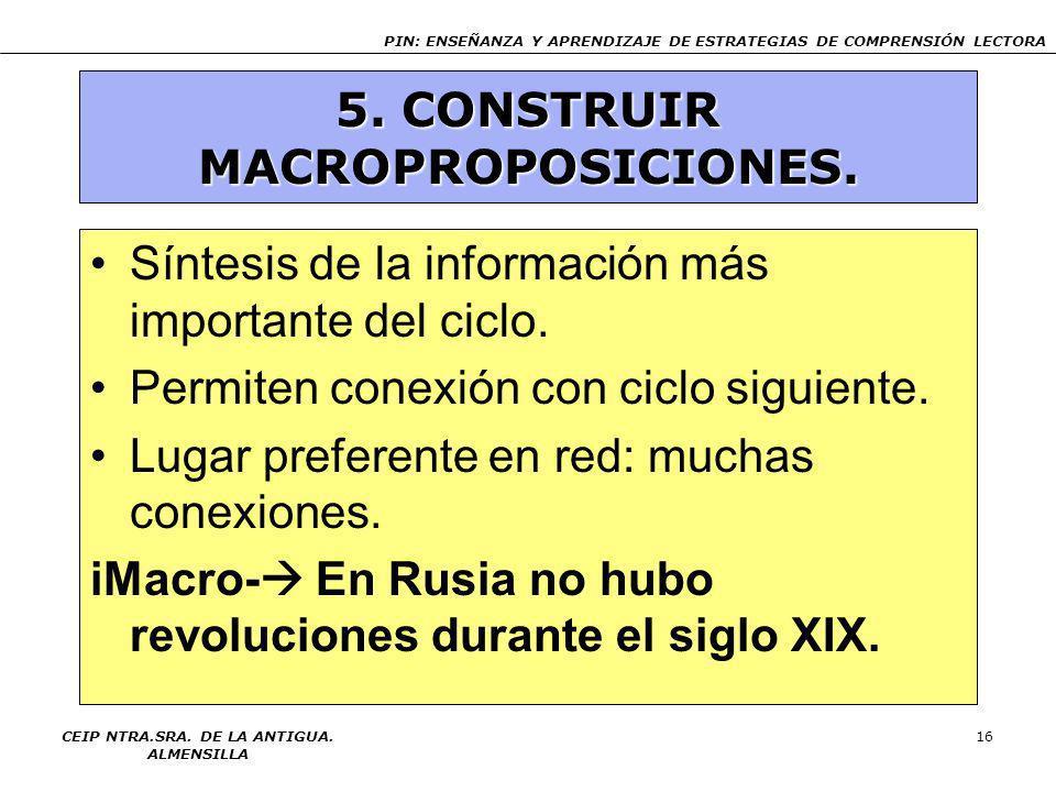 PIN: ENSEÑANZA Y APRENDIZAJE DE ESTRATEGIAS DE COMPRENSIÓN LECTORA CEIP NTRA.SRA. DE LA ANTIGUA. ALMENSILLA 15 4. CONECTAR IDEAS TEXTUALES Inferencias