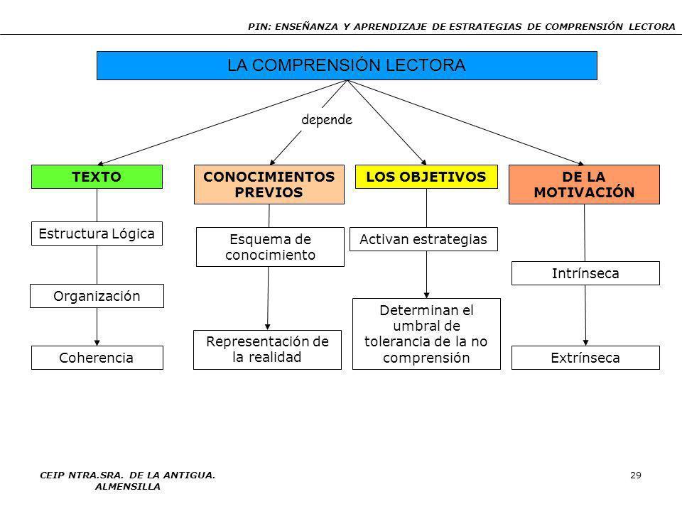 PIN: ENSEÑANZA Y APRENDIZAJE DE ESTRATEGIAS DE COMPRENSIÓN LECTORA CEIP NTRA.SRA. DE LA ANTIGUA. ALMENSILLA 28 RESULTADO DE LA COMPRENSIÓN Representac