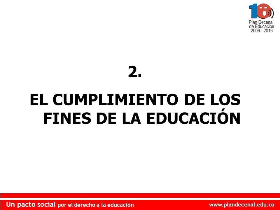 www.plandecenal.edu.co Un pacto social por el derecho a la educación 2. EL CUMPLIMIENTO DE LOS FINES DE LA EDUCACIÓN