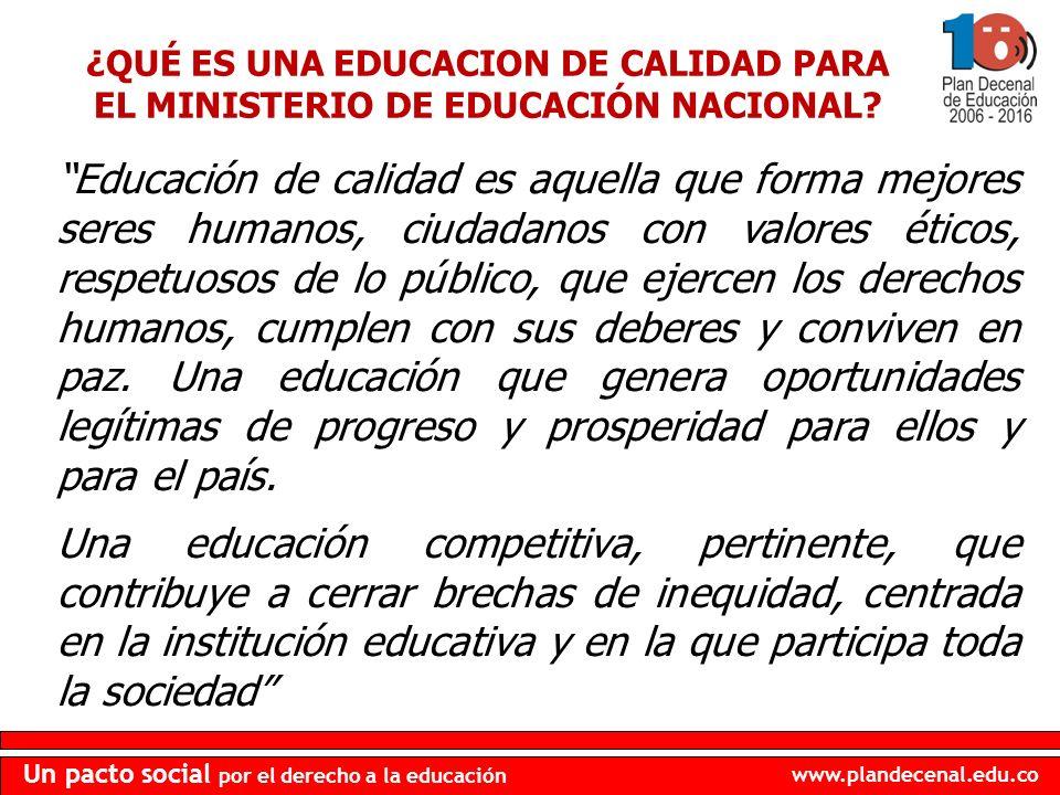www.plandecenal.edu.co Un pacto social por el derecho a la educación Educación de calidad es aquella que forma mejores seres humanos, ciudadanos con v