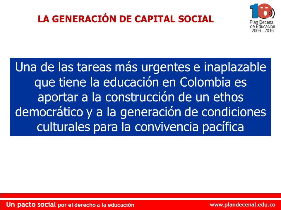 www.plandecenal.edu.co Un pacto social por el derecho a la educación LA GENERACIÓN DE CAPITAL SOCIAL Una de las tareas más urgentes e inaplazable que