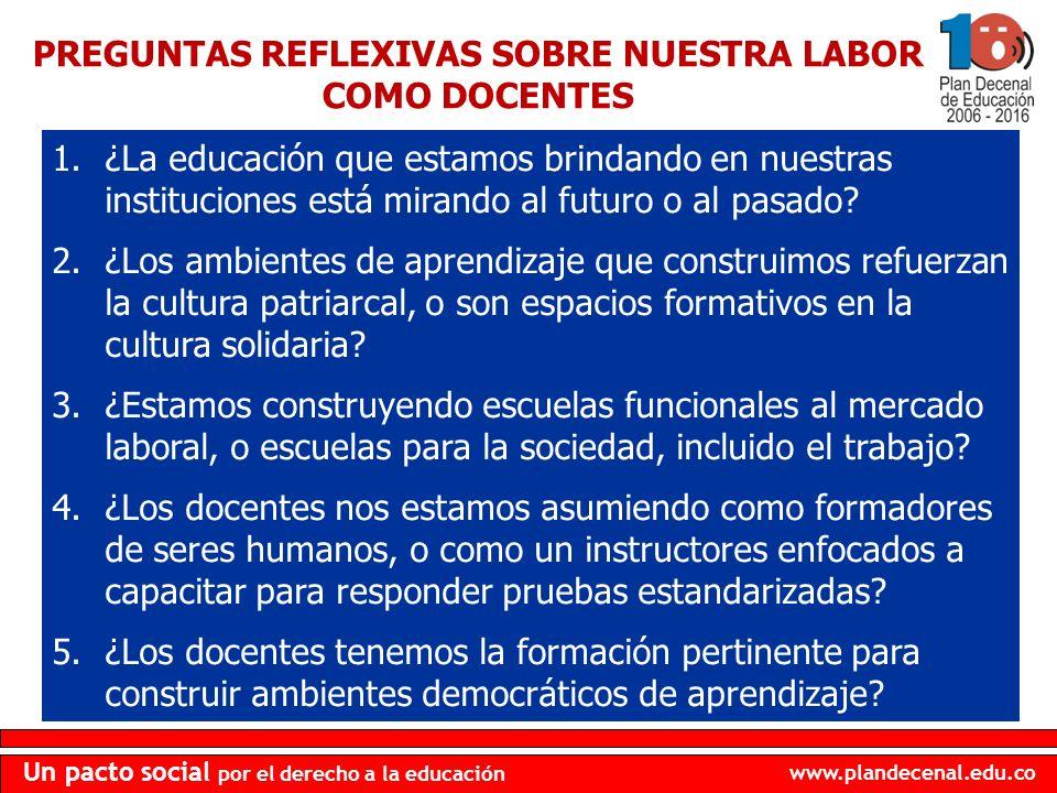 www.plandecenal.edu.co Un pacto social por el derecho a la educación 1.¿La educación que estamos brindando en nuestras instituciones está mirando al f