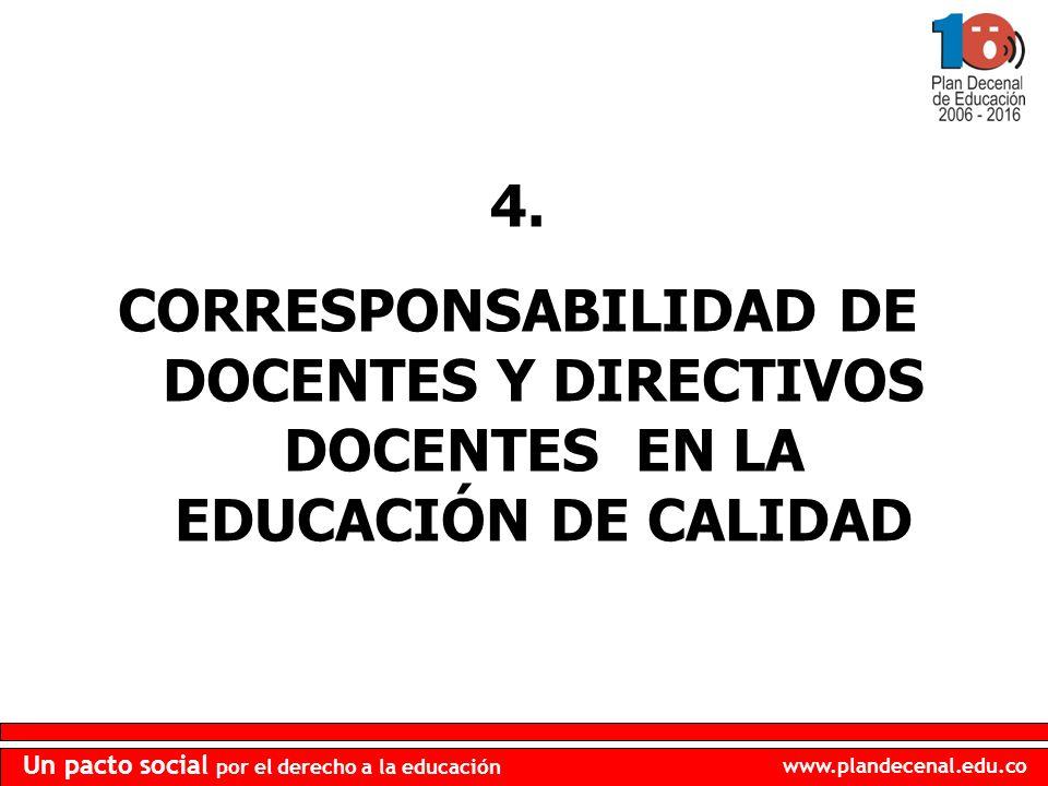www.plandecenal.edu.co Un pacto social por el derecho a la educación 4. CORRESPONSABILIDAD DE DOCENTES Y DIRECTIVOS DOCENTES EN LA EDUCACIÓN DE CALIDA