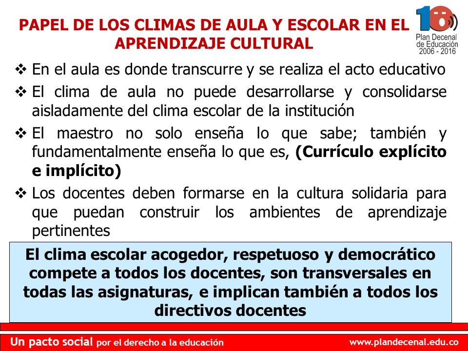 www.plandecenal.edu.co Un pacto social por el derecho a la educación PAPEL DE LOS CLIMAS DE AULA Y ESCOLAR EN EL APRENDIZAJE CULTURAL En el aula es do