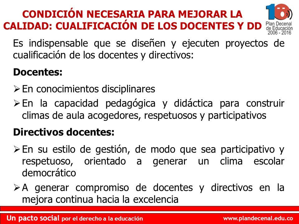 www.plandecenal.edu.co Un pacto social por el derecho a la educación Es indispensable que se diseñen y ejecuten proyectos de cualificación de los doce