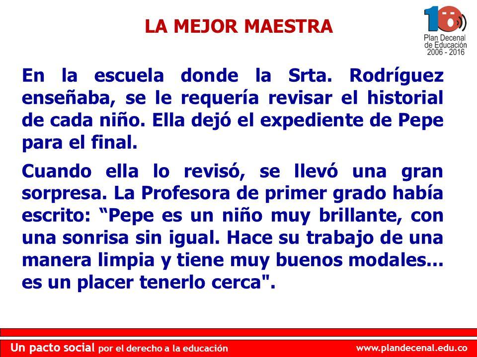 www.plandecenal.edu.co Un pacto social por el derecho a la educación En la escuela donde la Srta. Rodríguez enseñaba, se le requería revisar el histor