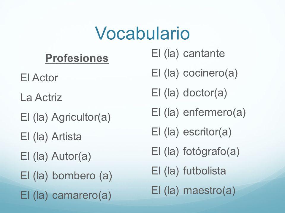 Vocabulario Profesiones El Actor La Actriz El (la) Agricultor(a) El (la) Artista El (la) Autor(a) El (la) bombero (a) El (la) camarero(a) El (la) cant
