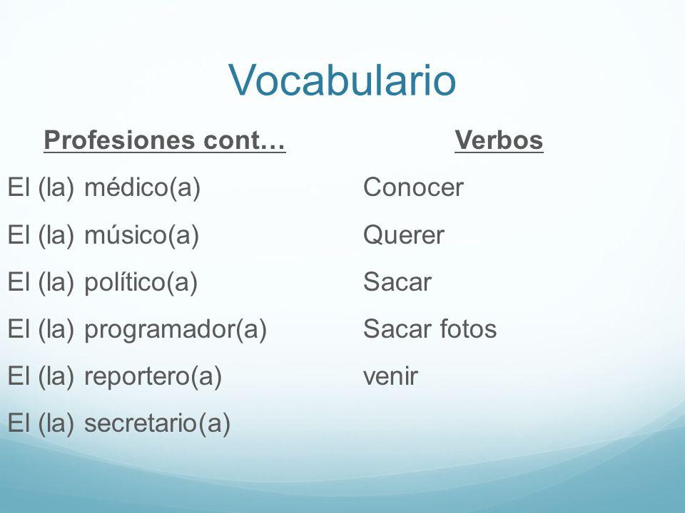 Vocabulario Profesiones cont… El (la) médico(a) El (la) músico(a) El (la) político(a) El (la) programador(a) El (la) reportero(a) El (la) secretario(a