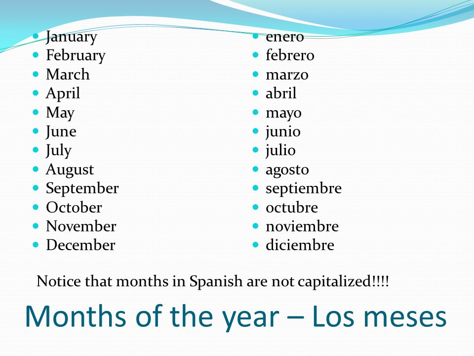 Months of the year – Los meses January February March April May June July August September October November December enero febrero marzo abril mayo ju