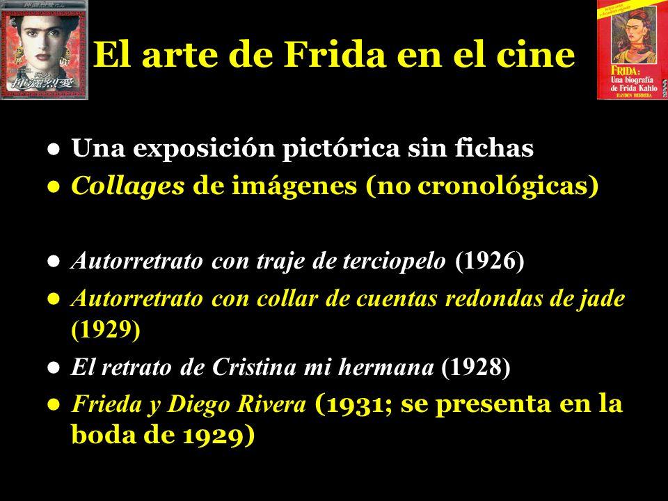 El arte de Frida en el cine Una exposición pictórica sin fichas Collages de imágenes (no cronológicas) Autorretrato con traje de terciopelo (1926) Aut