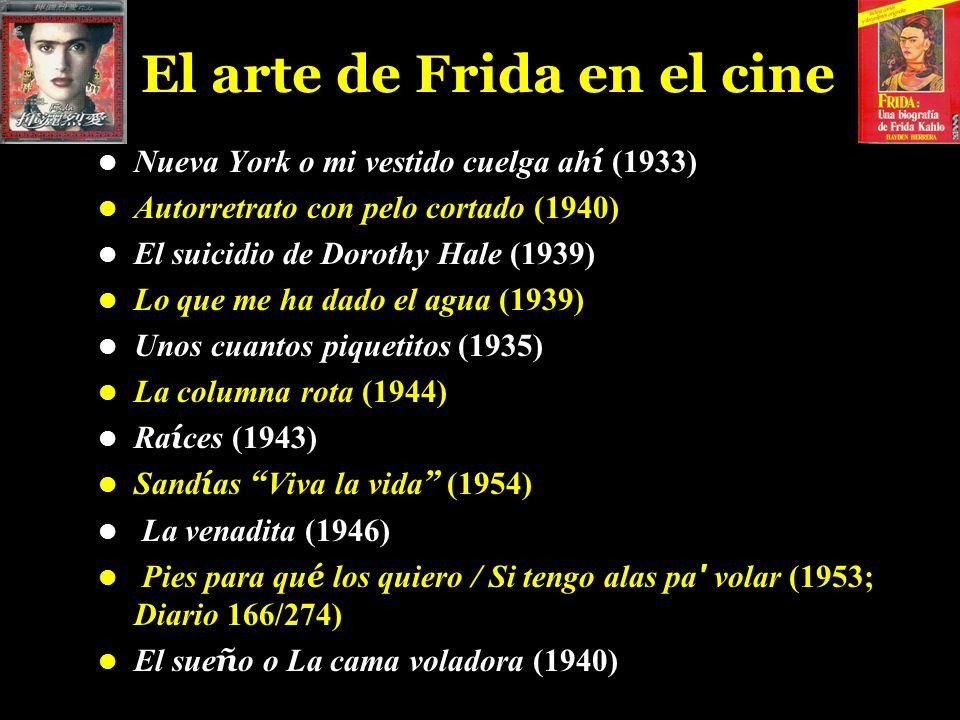 El arte de Frida en el cine Nueva York o mi vestido cuelga ah í (1933) Autorretrato con pelo cortado (1940) El suicidio de Dorothy Hale (1939) Lo que