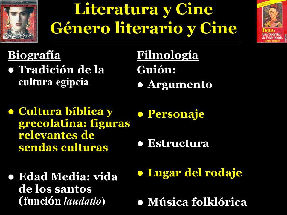 Literatura y Cine Género literario y Cine Biografía Tradición de la cultura egipcia Cultura bíblica y grecolatina: figuras relevantes de sendas cultur