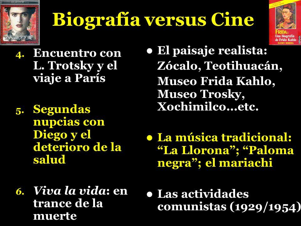 Biografía versus Cine 4. Encuentro con L. Trotsky y el viaje a París 5. Segundas nupcias con Diego y el deterioro de la salud 6. Viva la vida: en tran