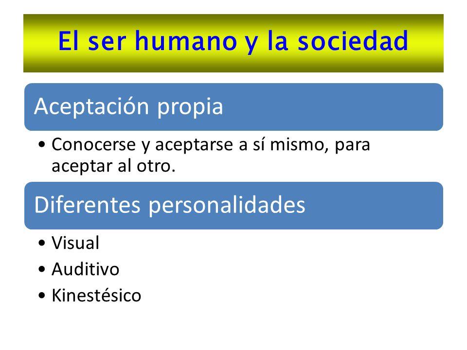 El ser humano y la sociedad Aceptación propia Conocerse y aceptarse a sí mismo, para aceptar al otro. Diferentes personalidades Visual Auditivo Kinest