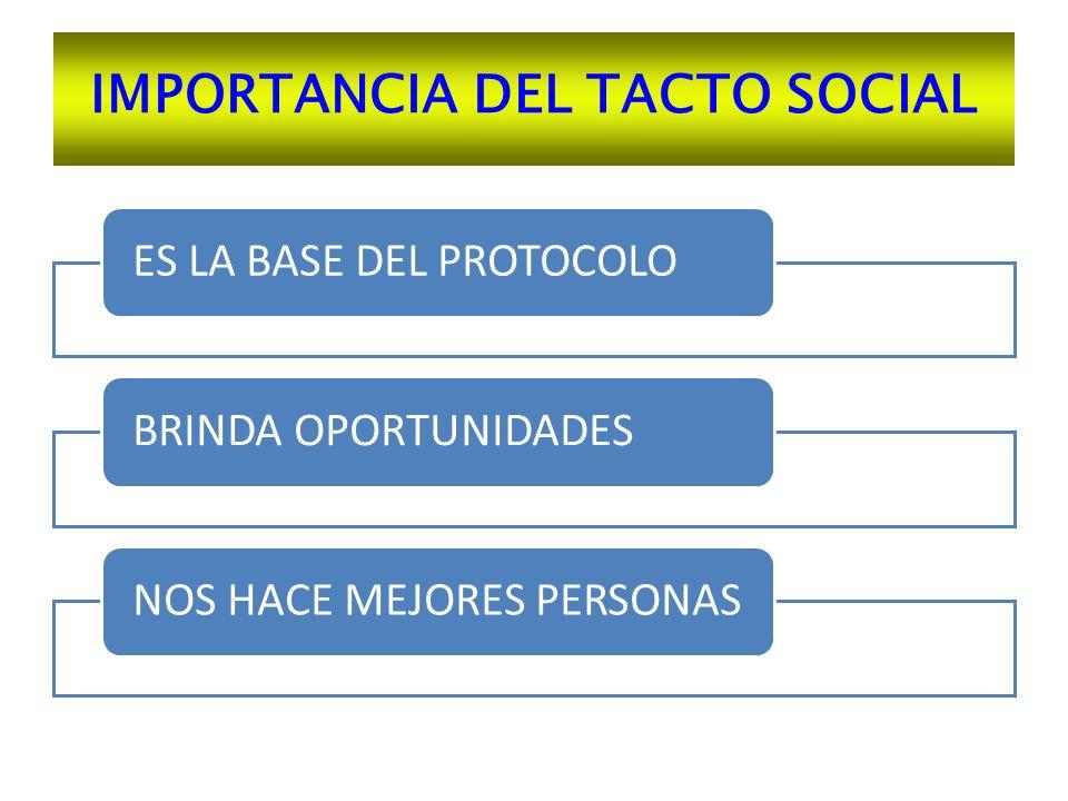 IMPORTANCIA DEL TACTO SOCIAL ES LA BASE DEL PROTOCOLO BRINDA OPORTUNIDADES NOS HACE MEJORES PERSONAS