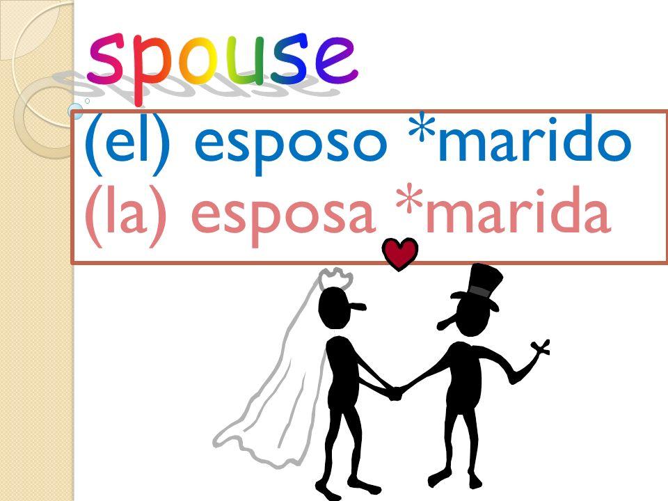 (el) esposo *marido (la) esposa *marida