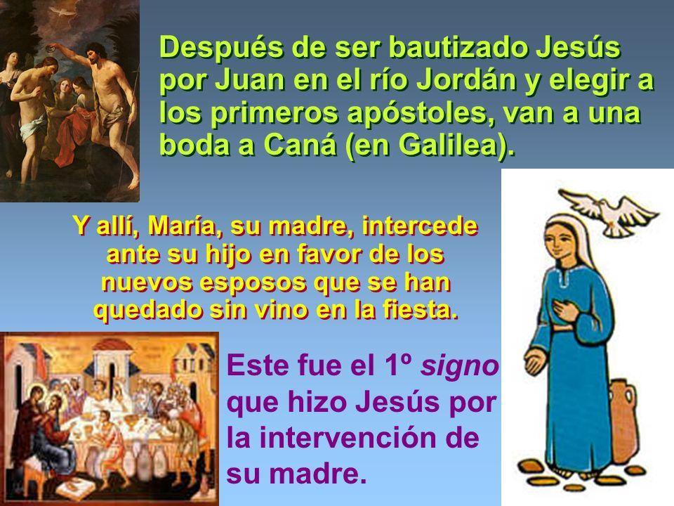 Después de ser bautizado Jesús por Juan en el río Jordán y elegir a los primeros apóstoles, van a una boda a Caná (en Galilea).