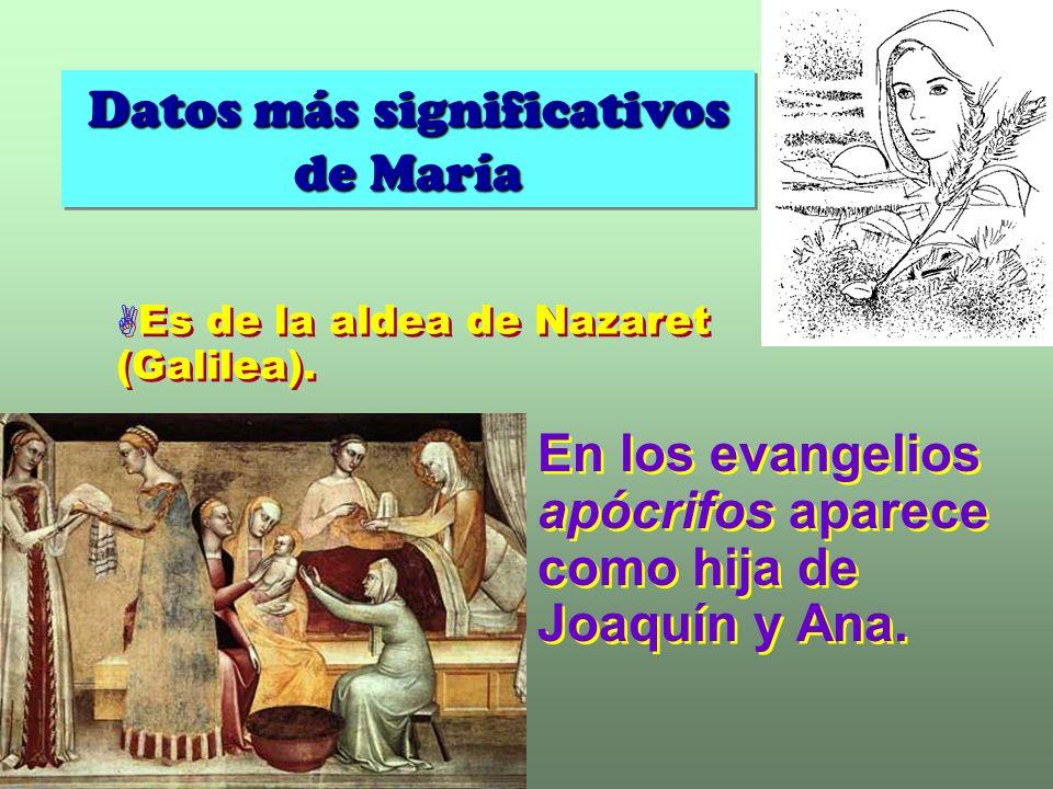 Datos más significativos de María Datos más significativos de María Es de la aldea de Nazaret (Galilea).
