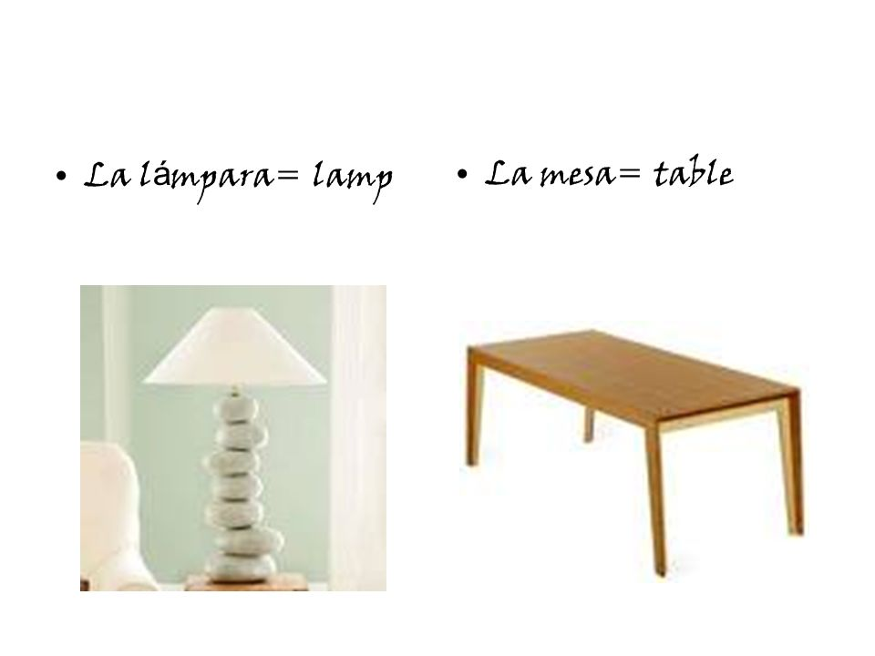 La l á mpara= lampLa mesa= table