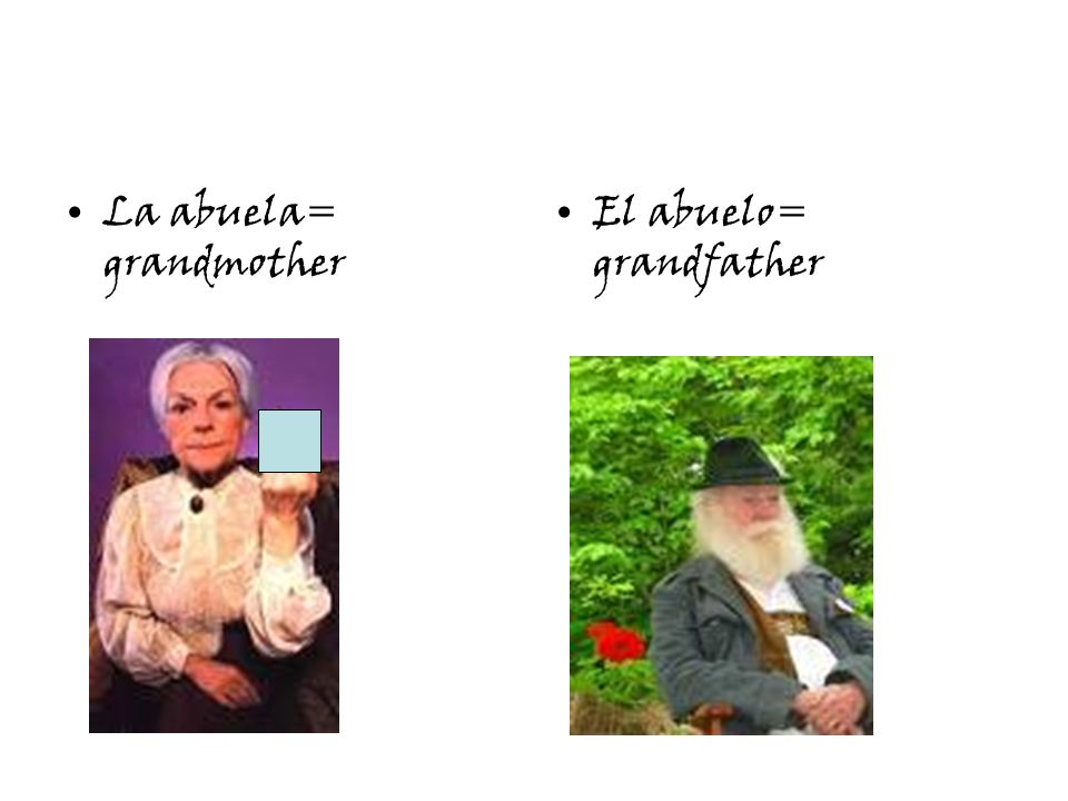 La abuela= grandmother El abuelo= grandfather