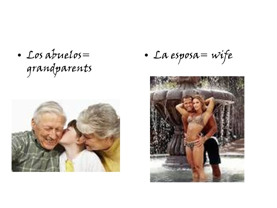 Los abuelos= grandparents La esposa= wife