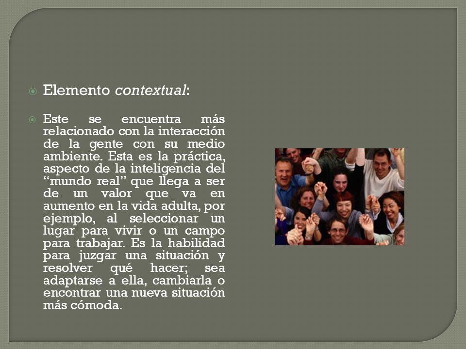 Elemento contextual: Este se encuentra más relacionado con la interacción de la gente con su medio ambiente. Esta es la práctica, aspecto de la inteli