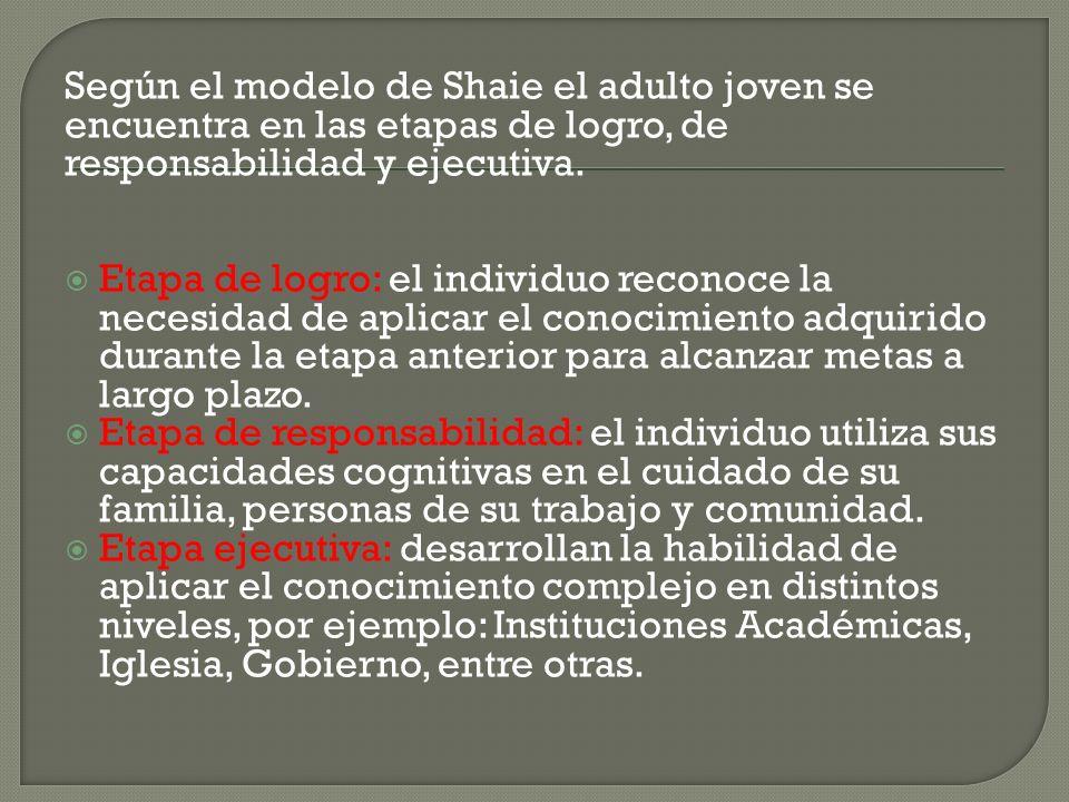 Según el modelo de Shaie el adulto joven se encuentra en las etapas de logro, de responsabilidad y ejecutiva. Etapa de logro: el individuo reconoce la