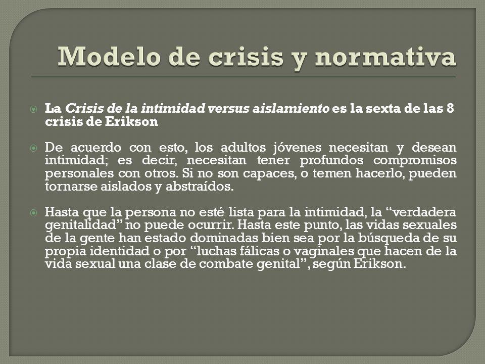 La Crisis de la intimidad versus aislamiento es la sexta de las 8 crisis de Erikson De acuerdo con esto, los adultos jóvenes necesitan y desean intimi