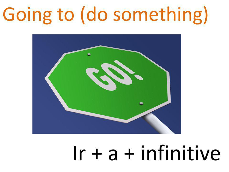 Going to (do something) Ir + a + infinitive