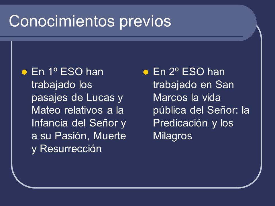 Conocimientos previos En 1º ESO han trabajado los pasajes de Lucas y Mateo relativos a la Infancia del Señor y a su Pasión, Muerte y Resurrección En 2