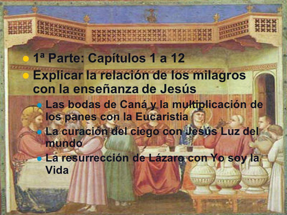 1ª Parte: Capítulos 1 a 12 Explicar la relación de los milagros con la enseñanza de Jesús Las bodas de Caná y la multiplicación de los panes con la Eu