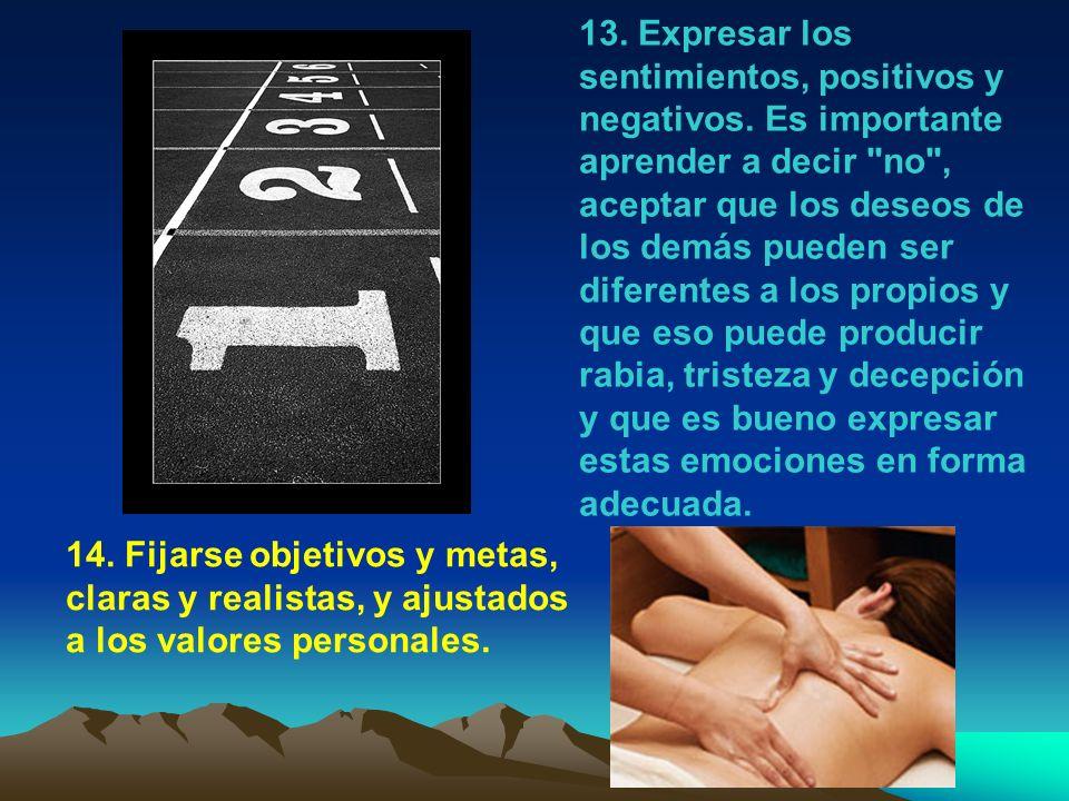 13.Expresar los sentimientos, positivos y negativos.